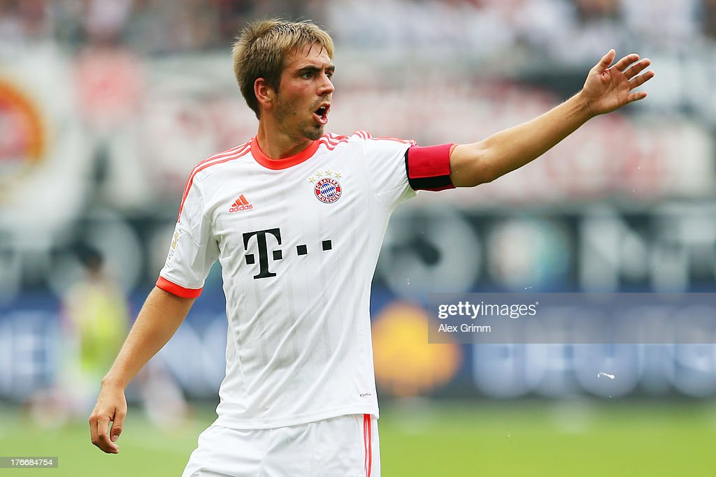 <a gi-track='captionPersonalityLinkClicked' href=/galleries/search?phrase=Philipp+Lahm&family=editorial&specificpeople=483746 ng-click='$event.stopPropagation()'>Philipp Lahm</a> of Muenchen gestures during the Bundesliga match between Eintracht Frankfurt and FC Bayern Muenchen at Commerzbank Arena on August 17, 2013 in Frankfurt am Main, Germany.