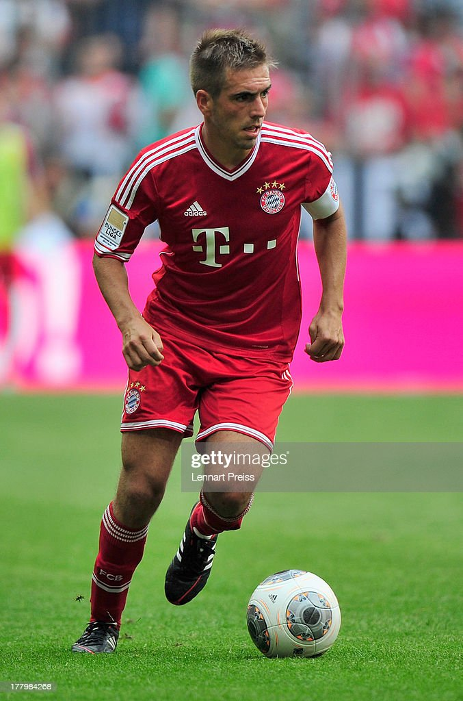 Philipp Lahm of Muenchen in action during the Bundesliga match between FC Bayern Muenchen and 1. FC Nuernberg at Allianz Arena on August 24, 2013 in Munich, Germany.