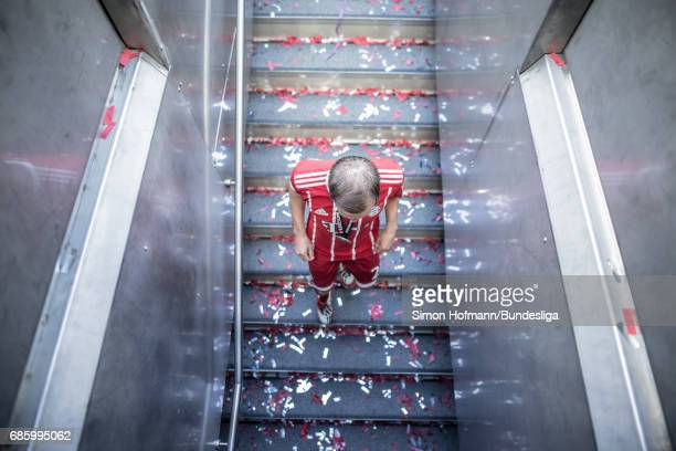 Philipp Lahm of Muenchen leaves the pitch after the Bundesliga match between Bayern Muenchen and SC Freiburg at Allianz Arena on May 20 2017 in...