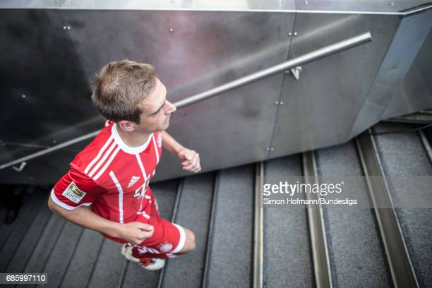 Philipp Lahm of Muenchen leaves the player's tunnel to attend the tropy ceremony after the Bundesliga match between Bayern Muenchen and SC Freiburg...