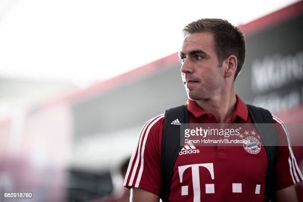 Philipp Lahm of Muenchen looks on as he arrives prior to the Bundesliga match between Bayern Muenchen and SC Freiburg at Allianz Arena on May 20 2017...