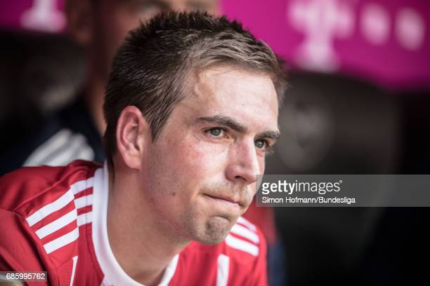 Philipp Lahm of Muenchen reacts during the Bundesliga match between Bayern Muenchen and SC Freiburg at Allianz Arena on May 20 2017 in Munich Germany