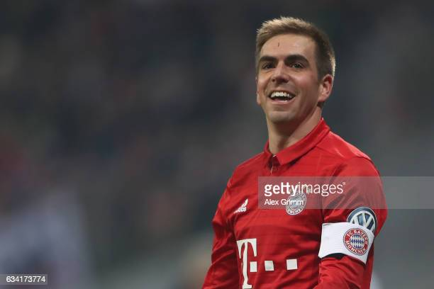 Philipp Lahm of Muenchen reacts during the DFB Cup Round Of 16 match between Bayern Muenchen and VfL Wolfsburg at Allianz Arena on February 7 2017 in...
