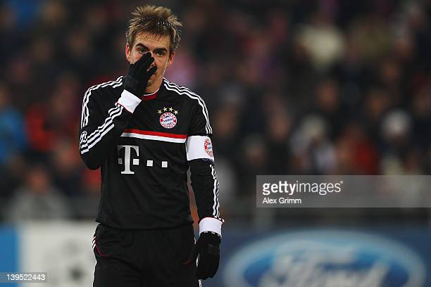 Philipp Lahm of Muenchen reacts during the UEFA Champions League Round of 16 first leg match between FC Basel 1893 and FC Bayern Muenchen at St...
