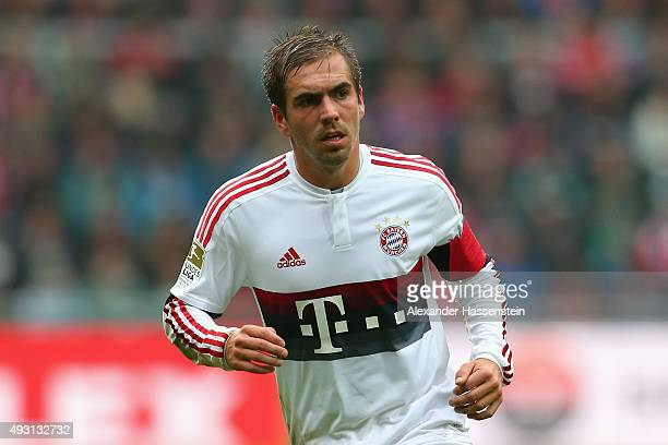Philipp Lahm of Muenchen runs with the ball during the Bundesliga match between SV Werder Bremen and FC Bayern Muenchen at Weserstadion on October 17...