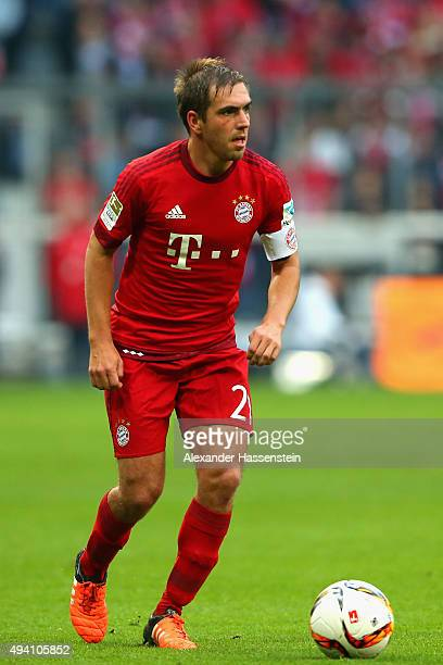 Philipp Lahm of Muenchen runs with the ball during the Bundesliga match between FC Bayern Muenchen and 1 FC Koeln at Allianz Arena on October 24 2015...