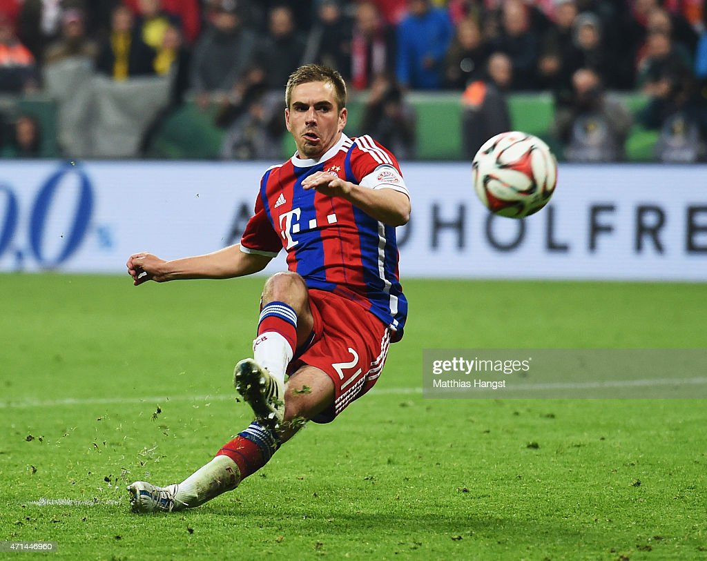 <a gi-track='captionPersonalityLinkClicked' href=/galleries/search?phrase=Philipp+Lahm&family=editorial&specificpeople=483746 ng-click='$event.stopPropagation()'>Philipp Lahm</a> of Muenchen slips over during the penalty shoot out during the DFB Cup semi final match between FC Bayern Muenchen and Borussia Dortmund at Allianz Arena on April 28, 2015 in Munich, Germany.