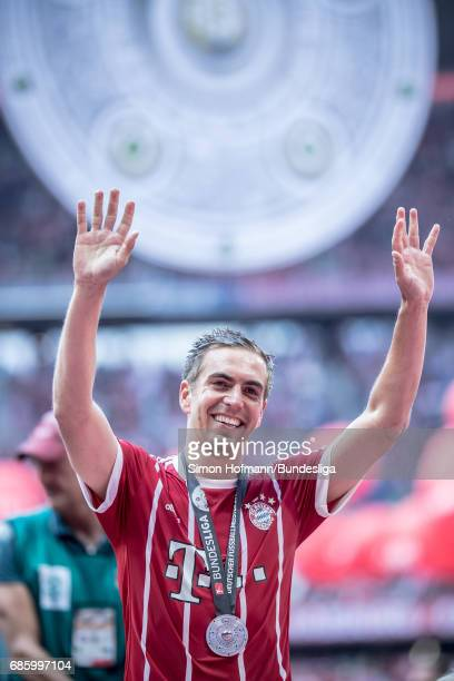 Philipp Lahm of Muenchen waves to fans after the Bundesliga match between Bayern Muenchen and SC Freiburg at Allianz Arena on May 20 2017 in Munich...