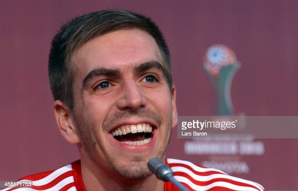 Philipp Lahm smiles during a Bayern Muenchen press conference ahaed of the FIFA Club World Cup Final against Raja Casablanca at Marrakech Stadium on...