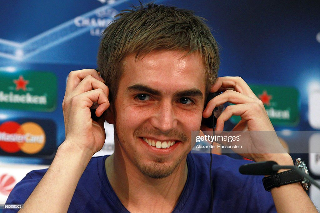 <a gi-track='captionPersonalityLinkClicked' href=/galleries/search?phrase=Philipp+Lahm&family=editorial&specificpeople=483746 ng-click='$event.stopPropagation()'>Philipp Lahm</a> smiles during a press conference on April 20, 2010 in Munich, Germany. Bayern Muenchen will play against Olympic Lyon at the UEFA Champions League semi final first leg match on April 21.