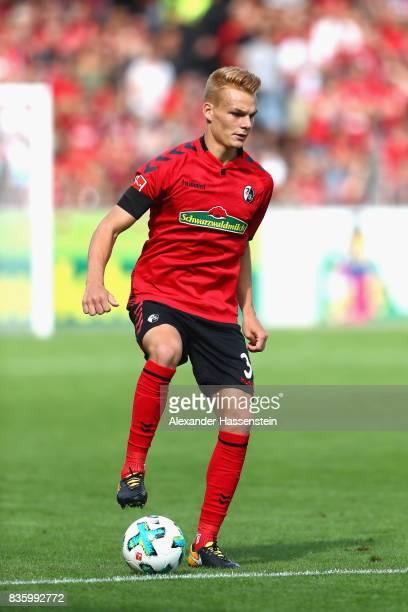 Philipp Lienhart of Freiburg runs with the ball during the Bundesliga match between SportClub Freiburg and Eintracht Frankfurt at SchwarzwaldStadion...