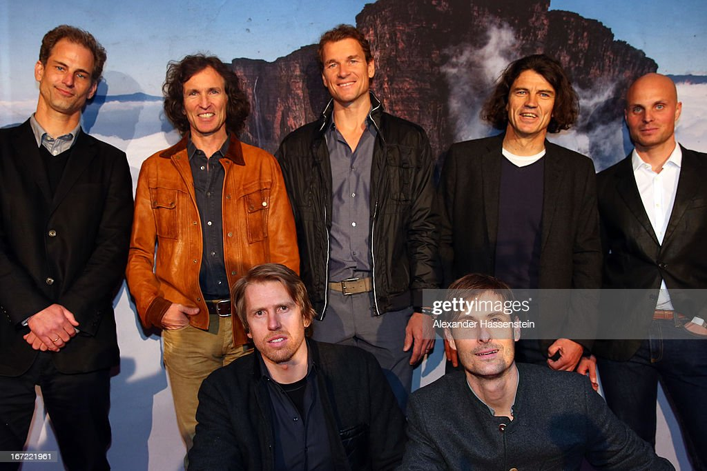 Philipp Manderla, Producer and Filmmaker, Stefan Glowacz, Jens Lehmann, Holger Heuber, Guido Kruetschnigg, Line Producer, (front row L-R) Franz Hinterbrandner, DOP and Christian Lonk (Cutter) attend the 'Jaeger des Augenblicks' World premiere at City Kino on April 22, 2013 in Munich, Germany. The adventure movie with climbing star Stefan Glowacz starts on April 25, 2013 in cinemas across Germany.