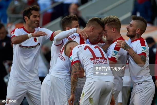 Philipp Max of Augsburg celebrates after scoring his team`s goal during the Bundesliga match between FC Augsburg and Hamburger SV at WWK Arena on...