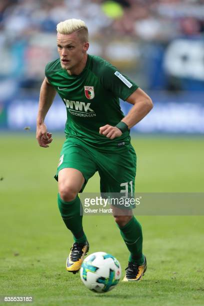 Philipp Max of Augsburg in action during the Bundesliga match between Hamburger SV and FC Augsburg at Volksparkstadion on August 19 2017 in Hamburg...