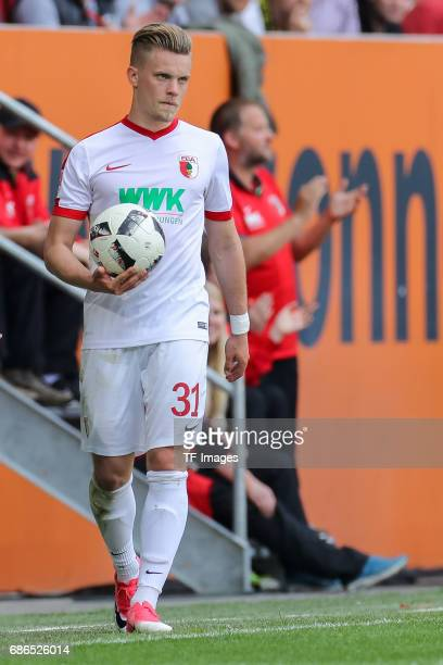 Philipp Max of Augsburg looks on during the Bundesliga match between FC Augsburg and Borussia Dortmund at the WWKArena on May 13 2017 in Augsburg...