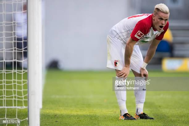 Philipp Max of Augsburg reacts during the Bundesliga match between TSG 1899 Hoffenheim and FC Augsburg at Wirsol RheinNeckarArena on October 14 2017...