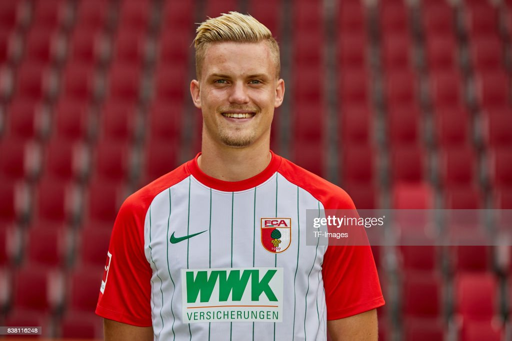 Philipp Max of FC Augsburg poses during the team presentation at WWK Arena on July 17, 2017 in Augsburg, Germany.