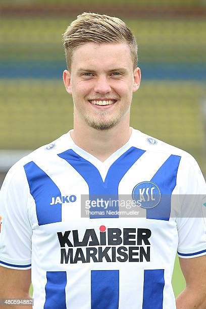 Philipp Max of Karlsruhe poses during the Karlsruher SC team presentation at Wildparkstadion on July 13 2015 in Karlsruhe Germany