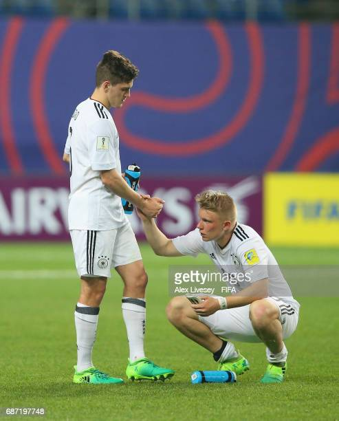 Philipp Ochs and Dominik Schad of Germany look dejected after the FIFA U20 World Cup Korea Republic 2017 group B match between Mexico and Germany at...