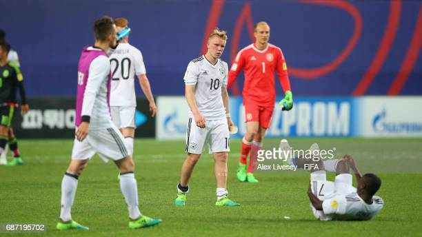 Philipp Ochs and team mates of Germany look dejected after the FIFA U20 World Cup Korea Republic 2017 group B match between Mexico and Germany at...