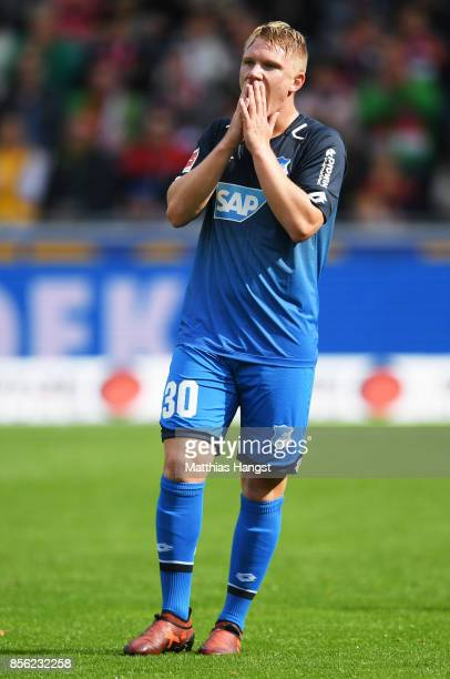 Philipp Ochs of 1899 Hoffenheim is dejected during the Bundesliga match between SportClub Freiburg and TSG 1899 Hoffenheim at SchwarzwaldStadion on...