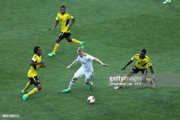 Philipp Ochs of Germany battles with the Vanuatu defence during the FIFA U20 World Cup Korea Republic 2017 group B match between Germany and Vanuatu...
