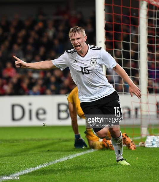 Philipp Ochs of Germany celebrates after scoring his team's third goal during the UEFA Under21 Euro 2019 Qualifier match between U21 of Germany and...