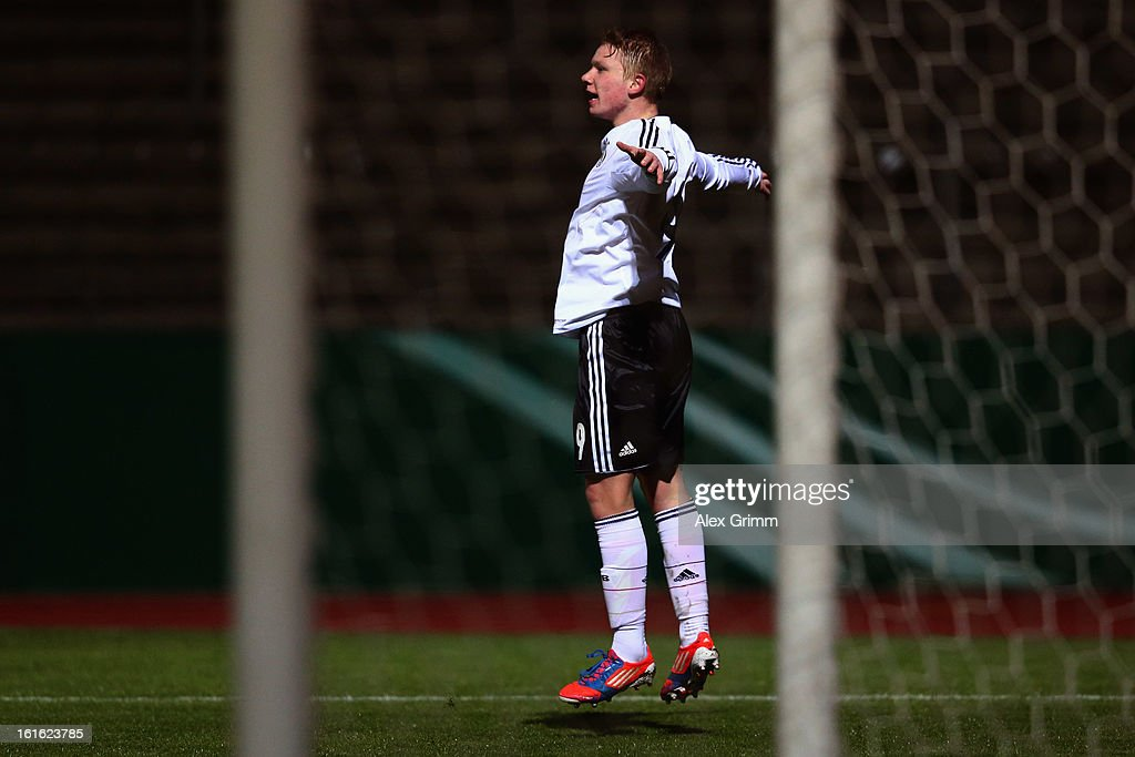 Philipp Ochs of Germany celebrates his team's first goal during the U16 international friendly match between Germany and England at Suedstadion on February 13, 2013 in Cologne, Germany.