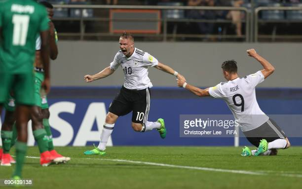 Philipp Ochs of Germany celebrates scoring their first goal during the FIFA U20 World Cup Korea Republic 2017 Round of 16 match between Zambia and...
