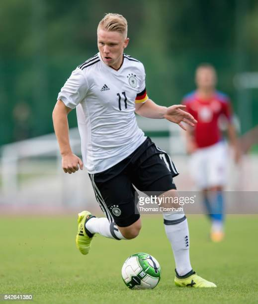 Philipp Ochs of Germany plays the ball during the Under 20 Elite League match between Czech Republic U20 and Germany U20 at stadium Juliska on...