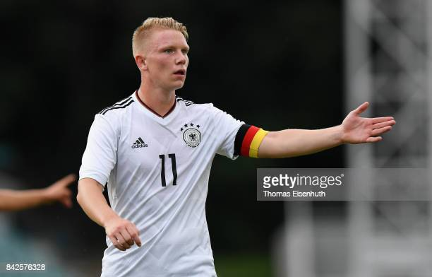 Philipp Ochs of Germany reacts during the Under 20 Elite League match between U20 of the Czech Republic and U20 of Germany at stadium Juliska on...