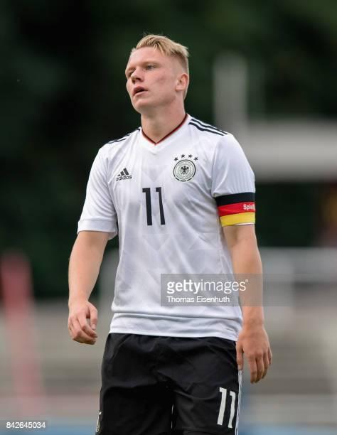 Philipp Ochs of Germany reacts during the Under 20 Elite League match between Czech Republic U20 and Germany U20 at stadium Juliska on September 4...
