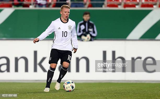 Philipp Ochs of Germany runs with the ball during the U20 international friendly match between Germany and Poland at Stadion Zwickau on November 14...