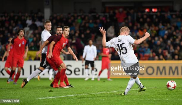 Philipp Ochs of Germany scores his team's third goal during the UEFA Under21 Euro 2019 Qualifier match between U21 of Germany and U21 of Azerbaijan...