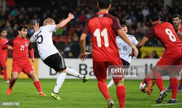 Philipp Ochs of Germany scores the opening goal during the UEFA Under21 Euro 2019 Qualifier match between U21 of Germany and U21 of Azerbaijan at...