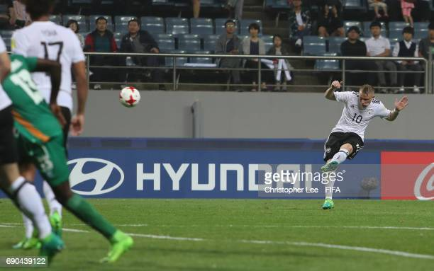 Philipp Ochs of Germany scores their first goal during the FIFA U20 World Cup Korea Republic 2017 Round of 16 match between Zambia and Germany at...