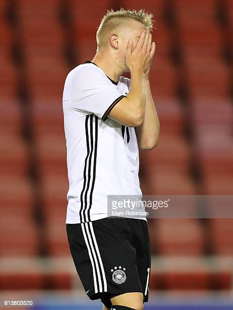 Philipp Ochs of Germany U20 after a missed chance during the U20 International Friendly match between Germany and Netherlands on October 10 2016 in...