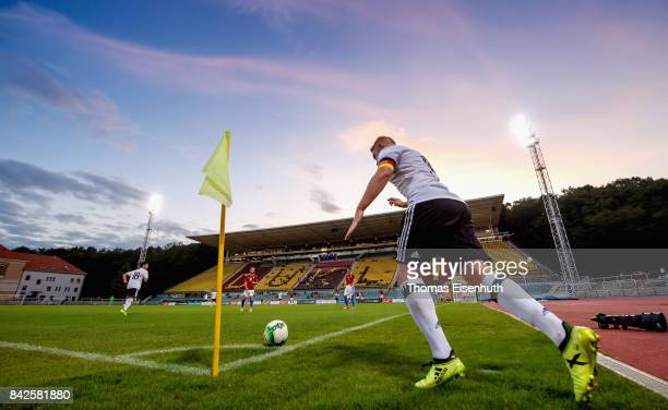 Philipp Ochs of Germany with a corner during the Under 20 Elite League match between U20 of the Czech Republic and U20 of Germany at stadium Juliska...
