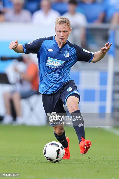 Philipp Ochs of Hoffenheim controls the ball during the Bundesliga match between TSG 1899 Hoffenheim and RB Leipzig at Wirsol RheinNeckarArena on...