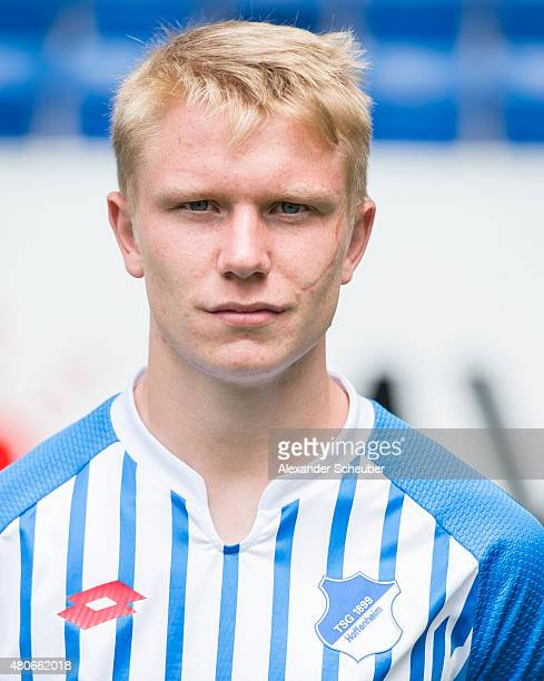 Philipp Ochs poses during the team presentation of 1899 Hoffenheim at Wirsol RheinNeckarArena on July 14 2015 in Sinsheim Germany