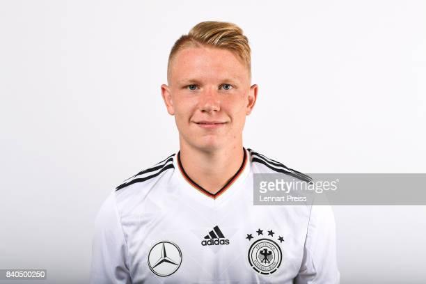 Philipp Ochs poses during the team presentation of the German U20 national football team on August 29 2017 in Herzogenaurach Germany