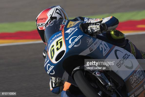 Philipp Oettl of Germany and Schedl GP Racing heads down a straight during the qualifying practice during the MotoGP of Spain Qualifying at Motorland...