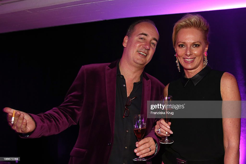 Philipp Pfeiffer and Petra van Bremen attend the Dom Perignon Balloon Venus by Jeff Koons at Alsterhaus on November 02, 2013 in Hamburg, Germany.