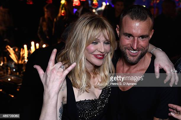 Philipp Plein and Courtney Love attend during the Philipp Plein show during the Milan Fashion Week Spring/Summer 2016 on September 23 2015 in Milan...