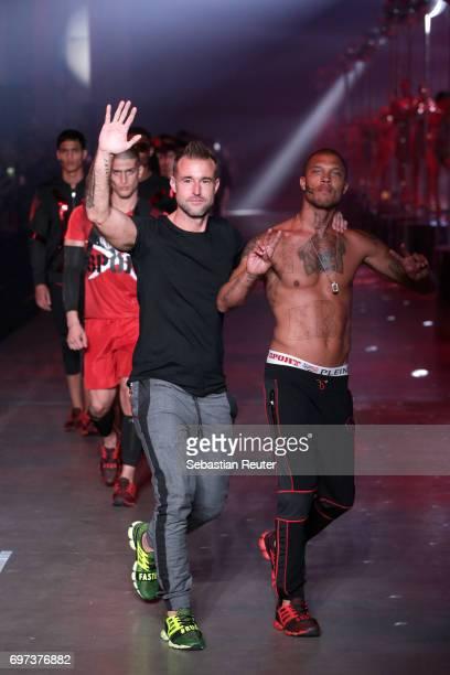 Philipp Plein and Jeremy Meeks walk the runway at the Plein Sport show during Milan Men's Fashion Week Spring/Summer 2018 on June 18 2017 in Milan...
