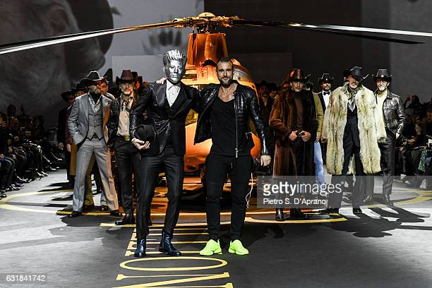 Philipp Plein and models walk the runway at the Billionaire show during Milan Men's Fashion Week Fall/Winter 2017/18 on January 16 2017 in Milan Italy