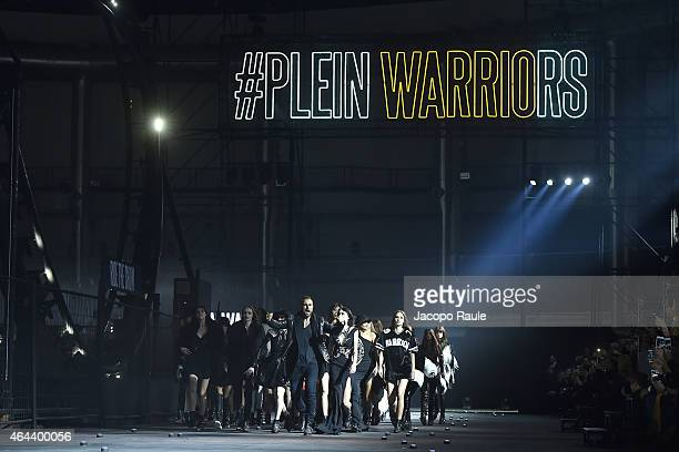Philipp Plein and models walk the runway at the Philipp Plein show during the Milan Fashion Week Autumn/Winter 2015 on February 25 2015 in Milan Italy