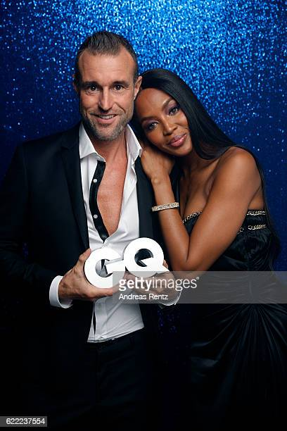 Philipp Plein and Naomi Campbell pose backstage at the GQ Men of the year Award 2016 at Komische Oper on November 10 2016 in Berlin Germany