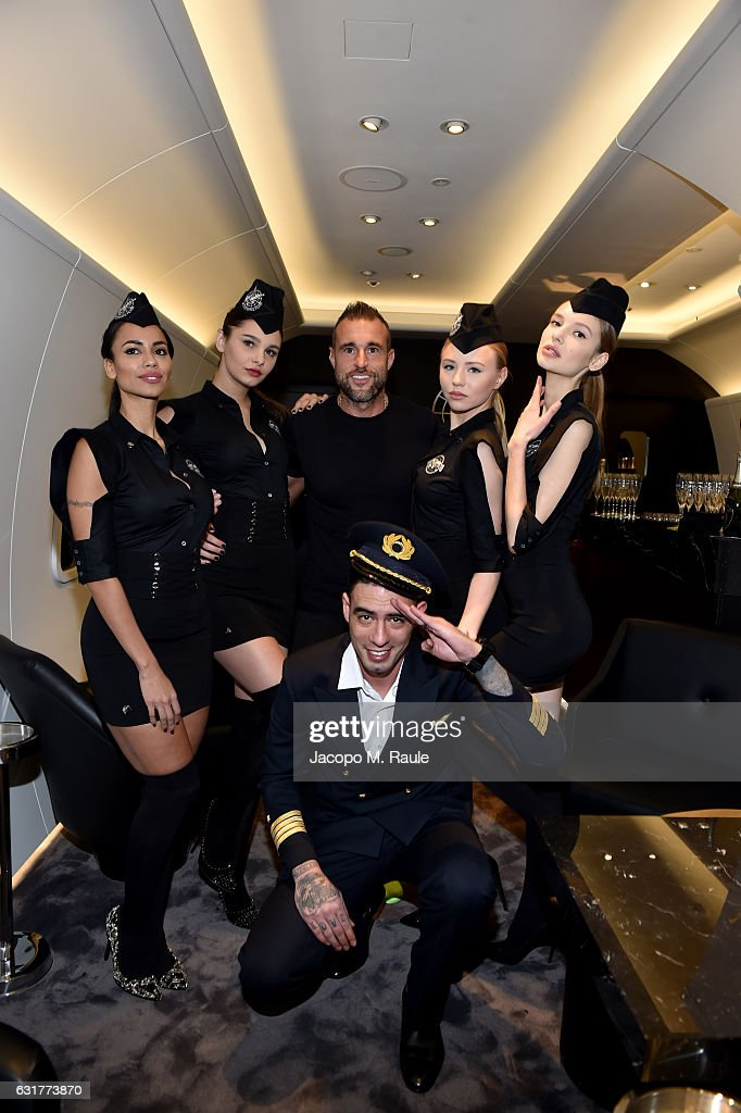 Philipp Plein (C) attends Philipp Plein Boutique Opening during Milan Men's Fashion Week Fall/Winter 2017/18 on January 15, 2017 in Milan, Italy.