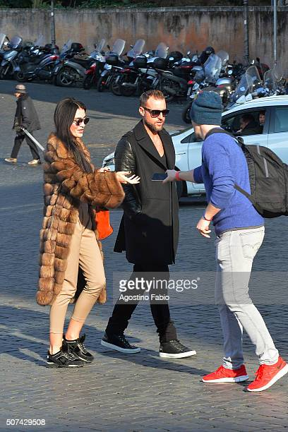 Philipp Plein is seen with a girl walking on January 29 2016 in Rome Italy